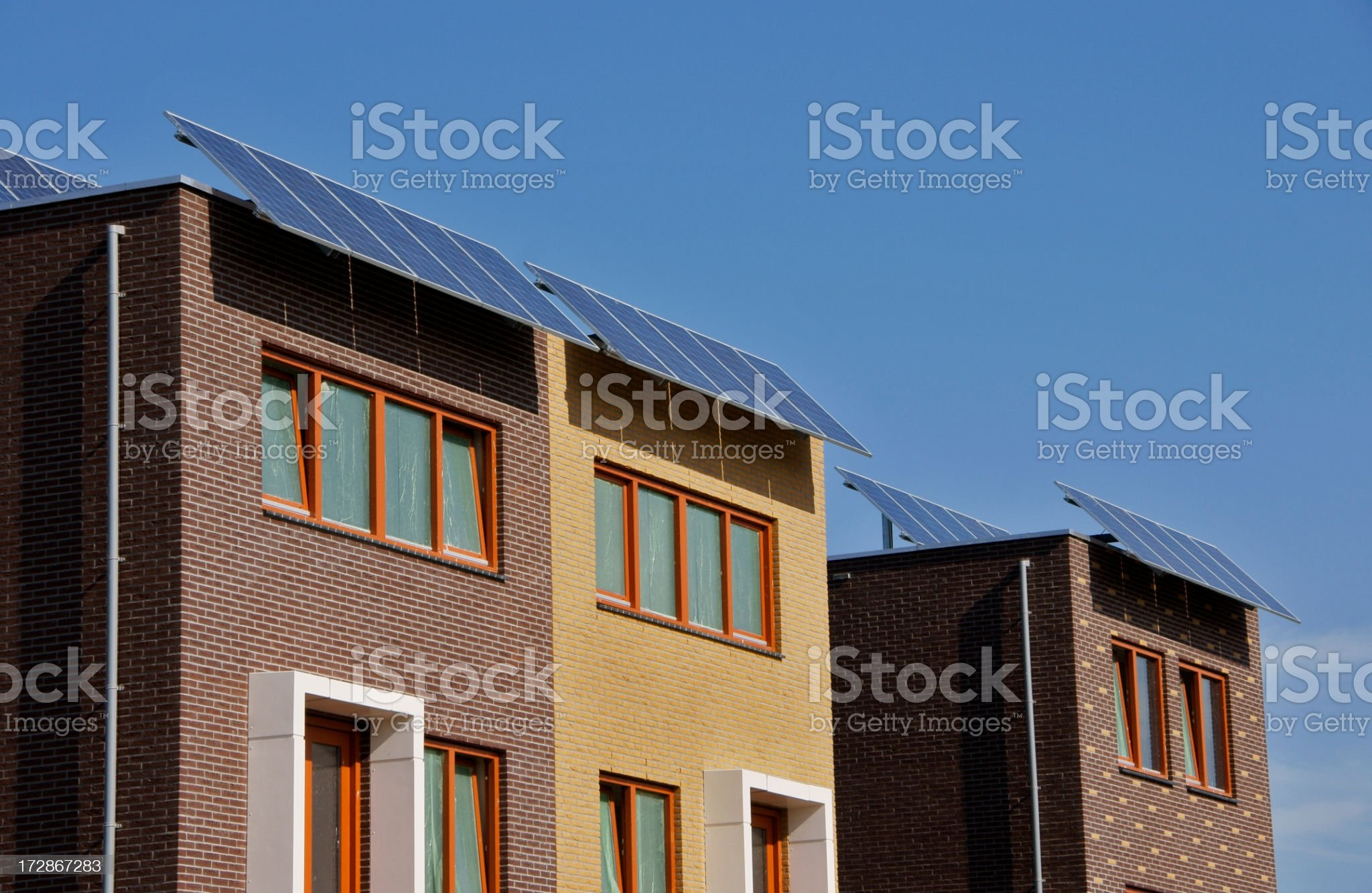 New dutch houses with solar panels royalty-free stock photo