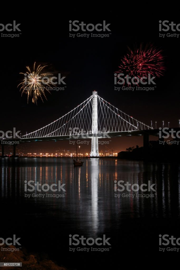 New East span of Bay bridge night shot stock photo