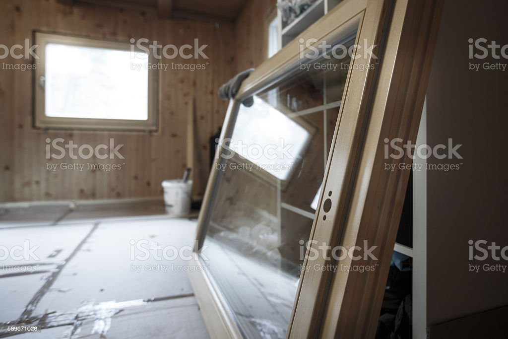 New efficient wooden window prepared for installation stock photo