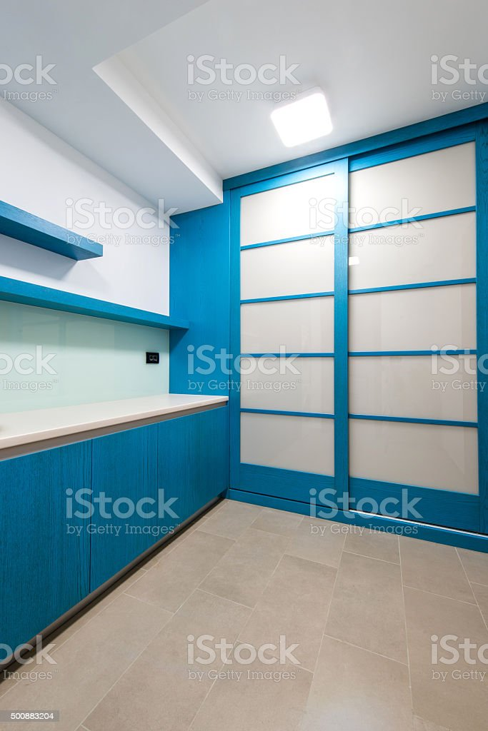New empty laundry room stock photo