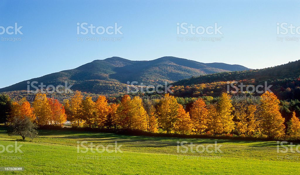 New England Autumn Field and Mountains stock photo