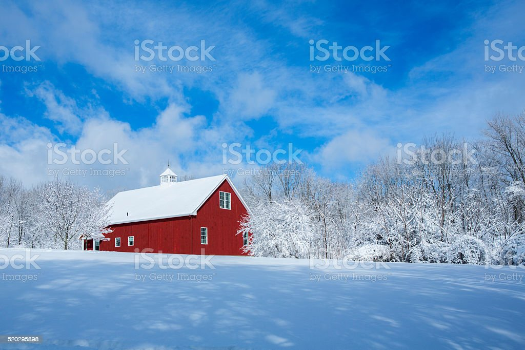 New England Barn in the Snow stock photo