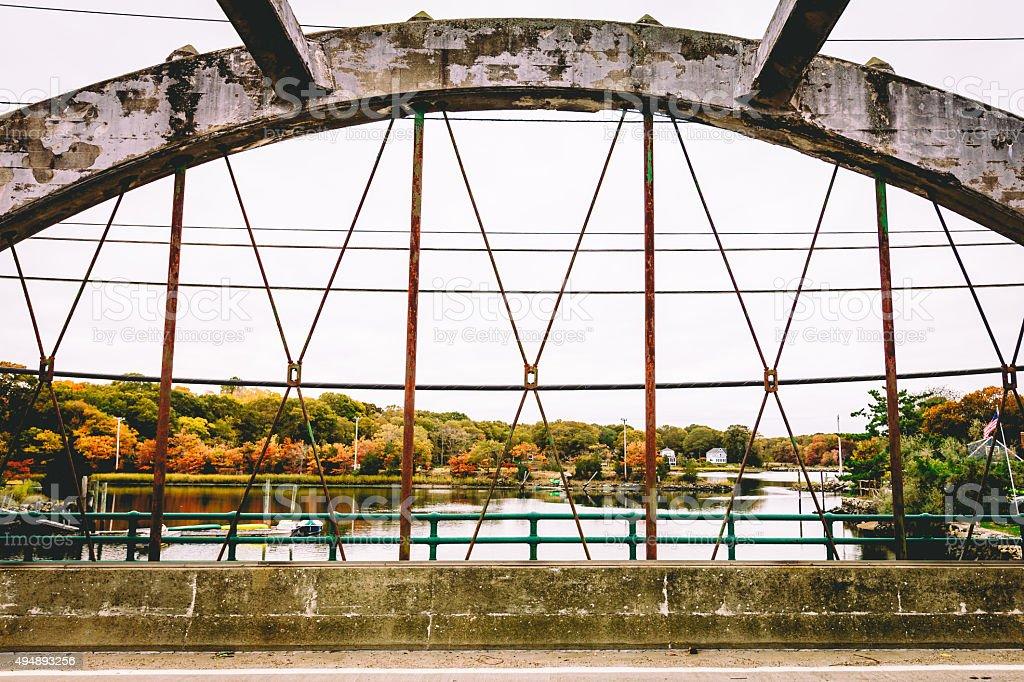 New England Bridge in Fall stock photo