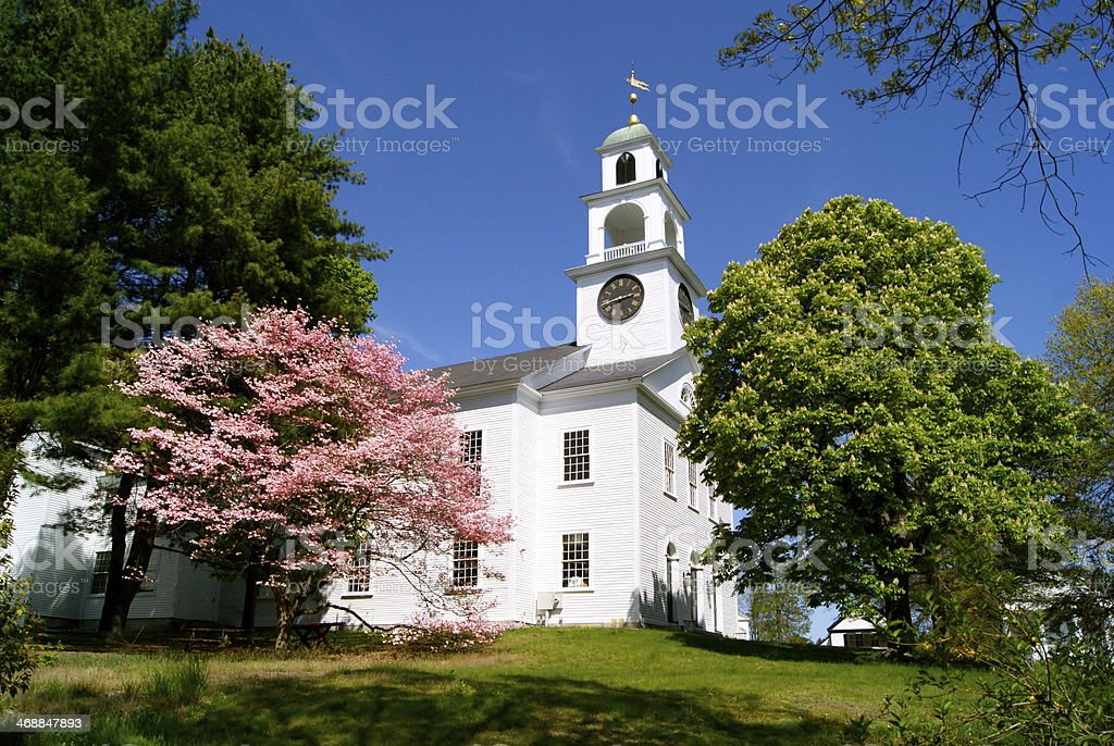 New England Church in Spring stock photo