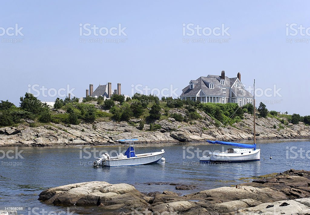 New England Coast with boats stock photo