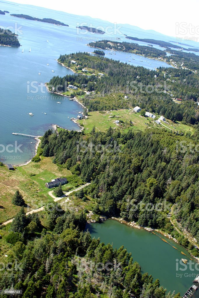 New England (US) coastline from airplane stock photo