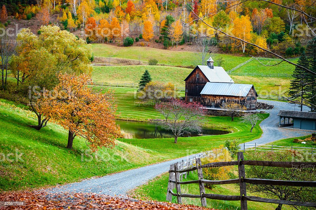 New England countryside, farm in autumn landscape stock photo