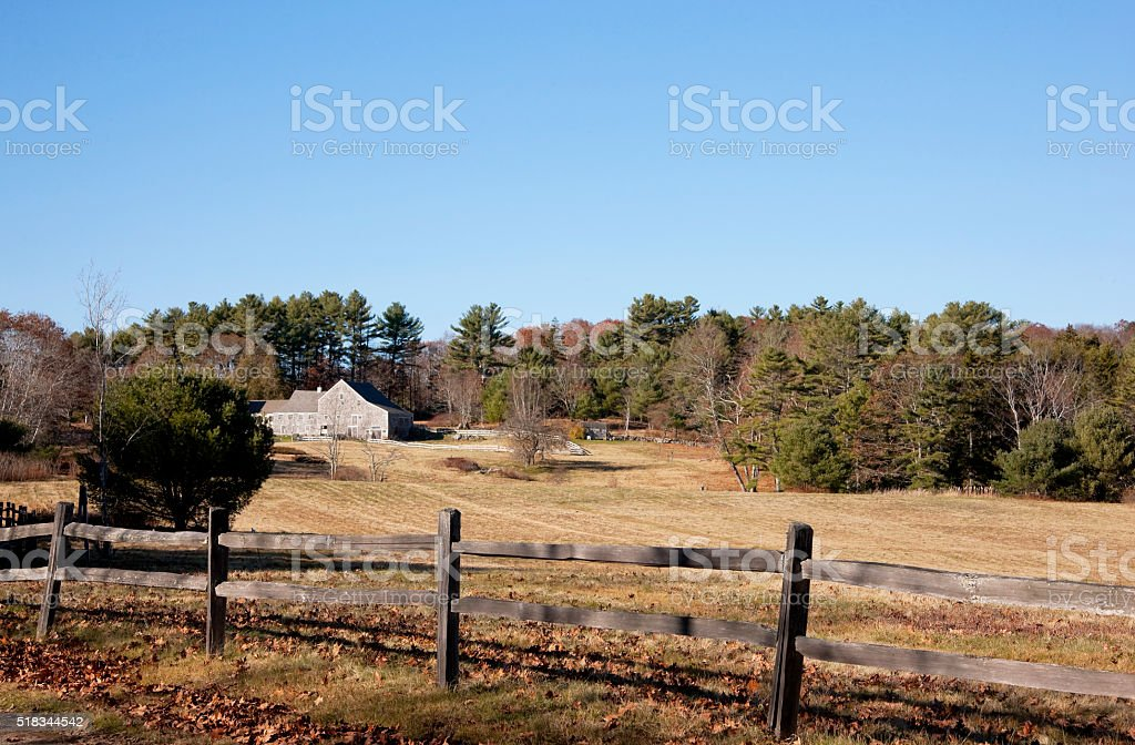 New England countryside landscape in November stock photo