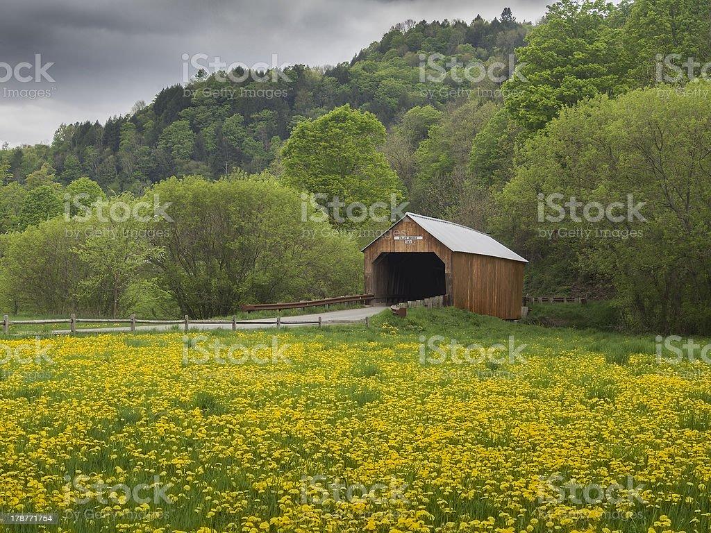 New England covered bridge stock photo