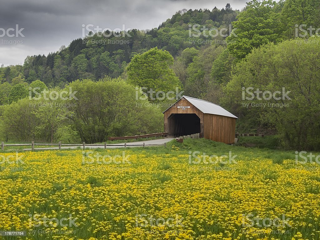 New England covered bridge stock photo