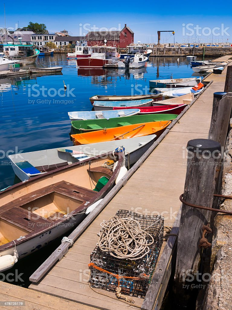 New England fishing village of Rockport, MA. USA stock photo