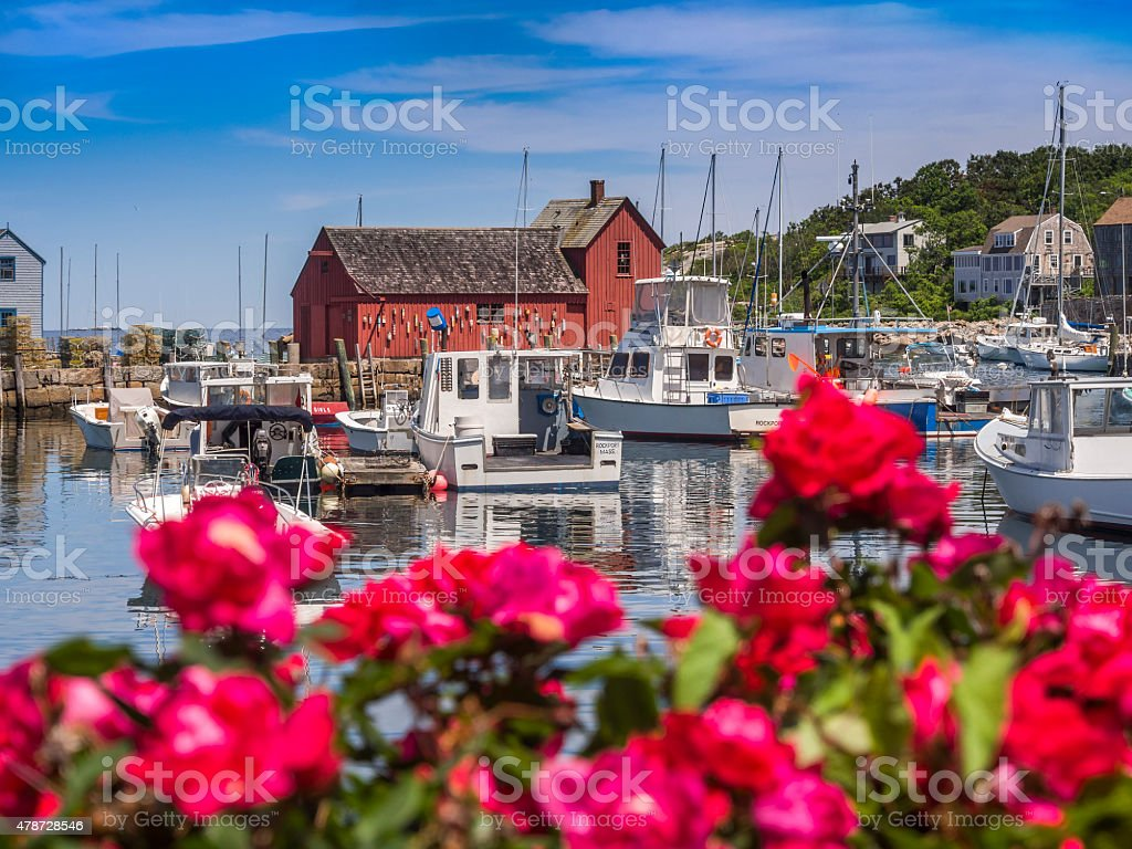 New England fishing village of Rockport, MA. USA stock photo