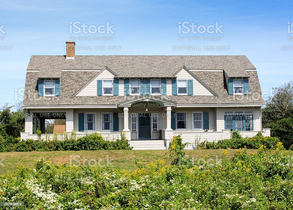 New England House with grey shingles, Chatham, Cape Cod, Massachusetts. stock photo
