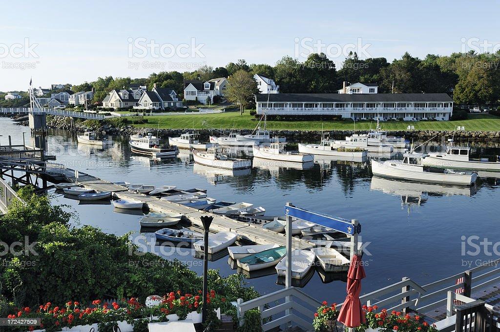 New England marina stock photo