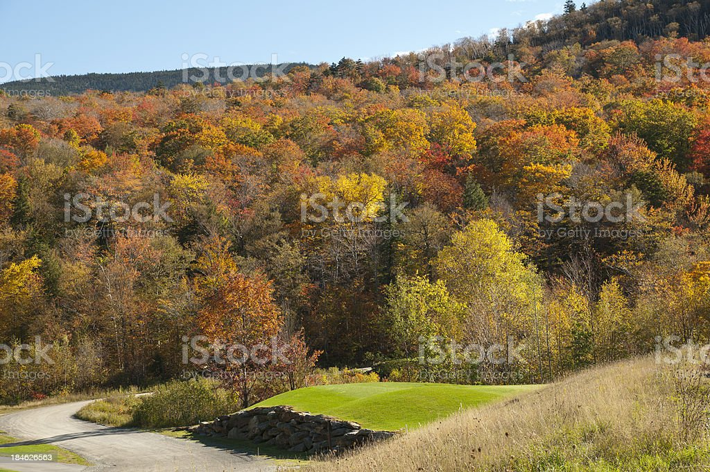 New England Rolling Hills with Changing Fall Leaves royalty-free stock photo