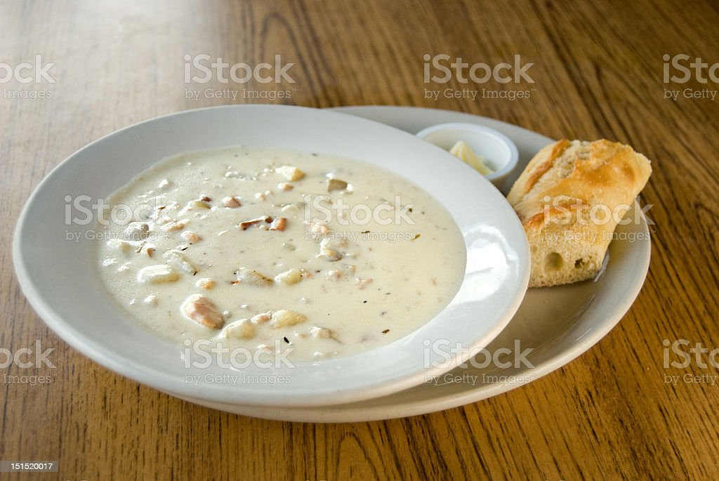 New England Seafood chowder stock photo