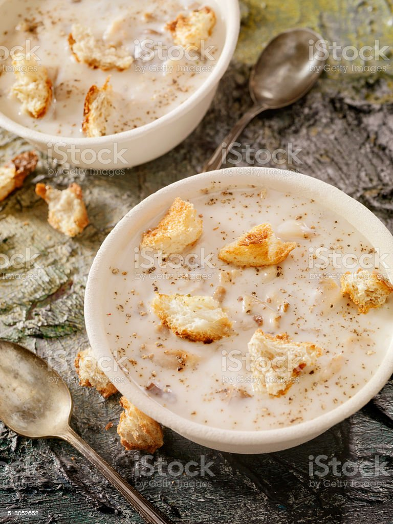 New England Style Clam Chowder with Croutons stock photo