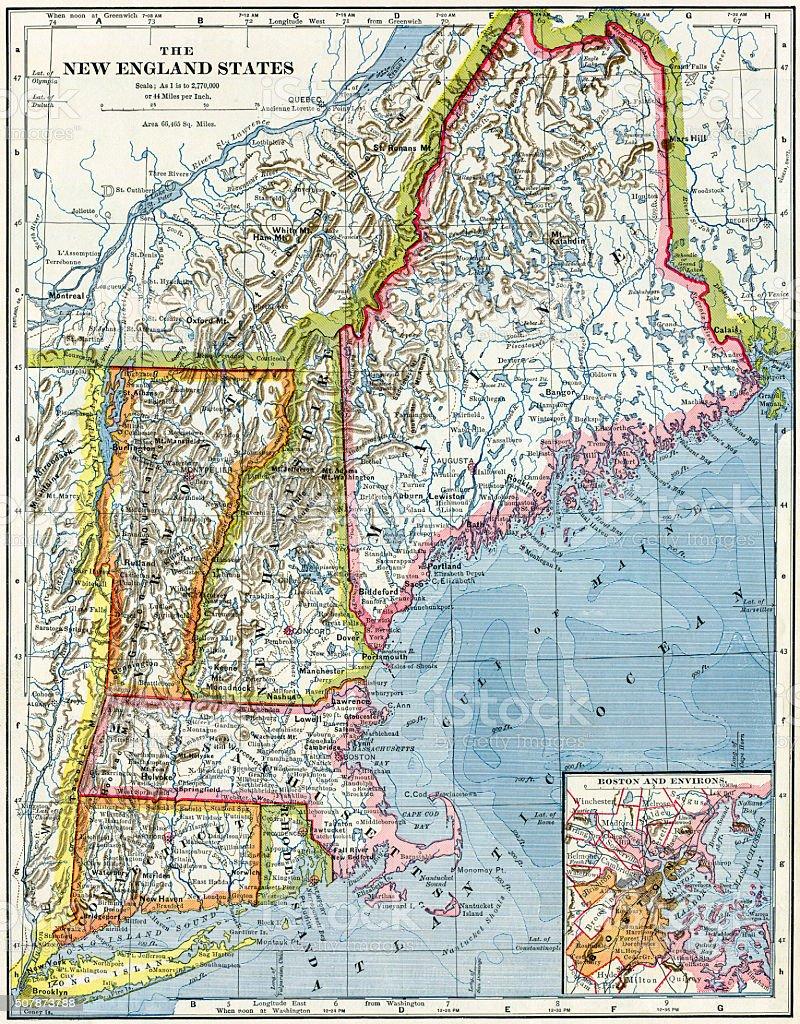 New England USA Map 1883 stock photo