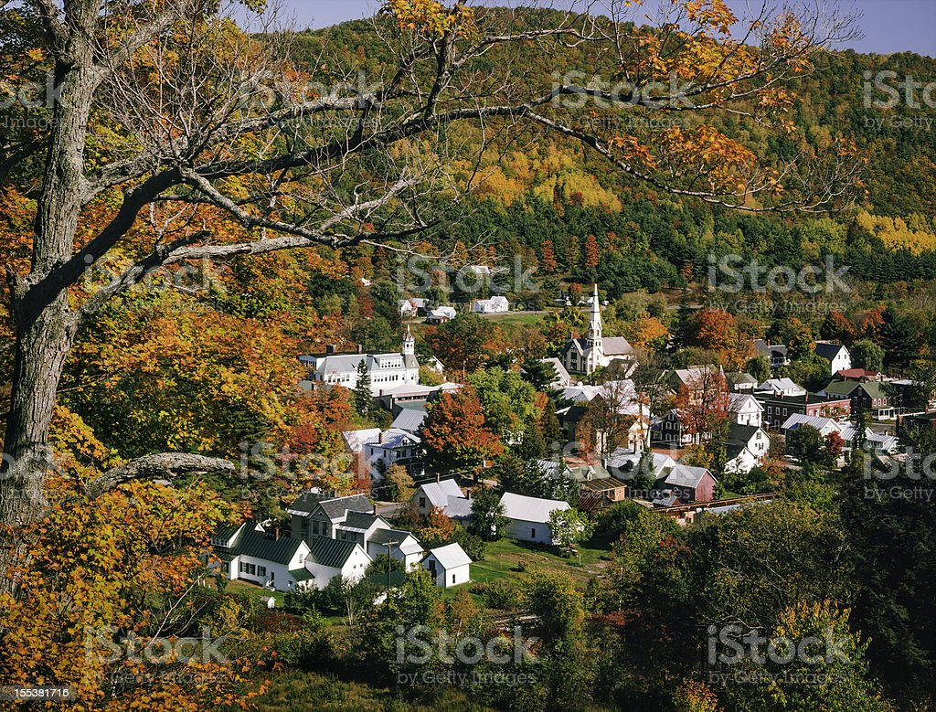 New England Vermont village in autumn foliage color stock photo