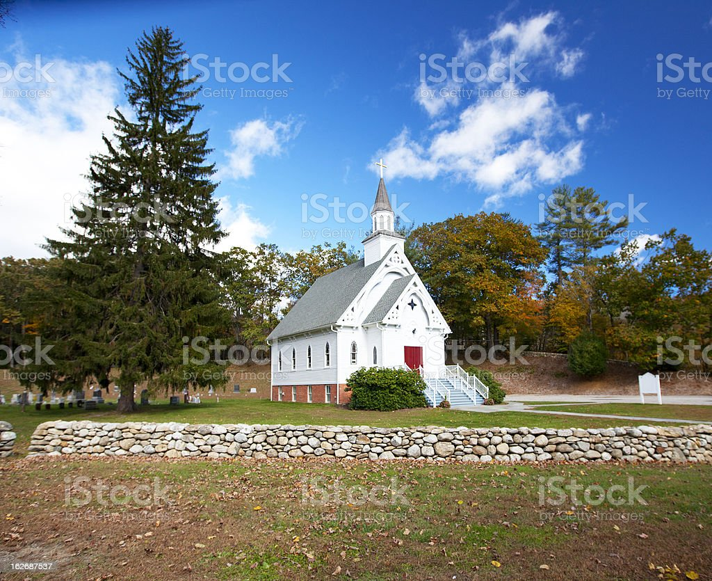 New England white church royalty-free stock photo