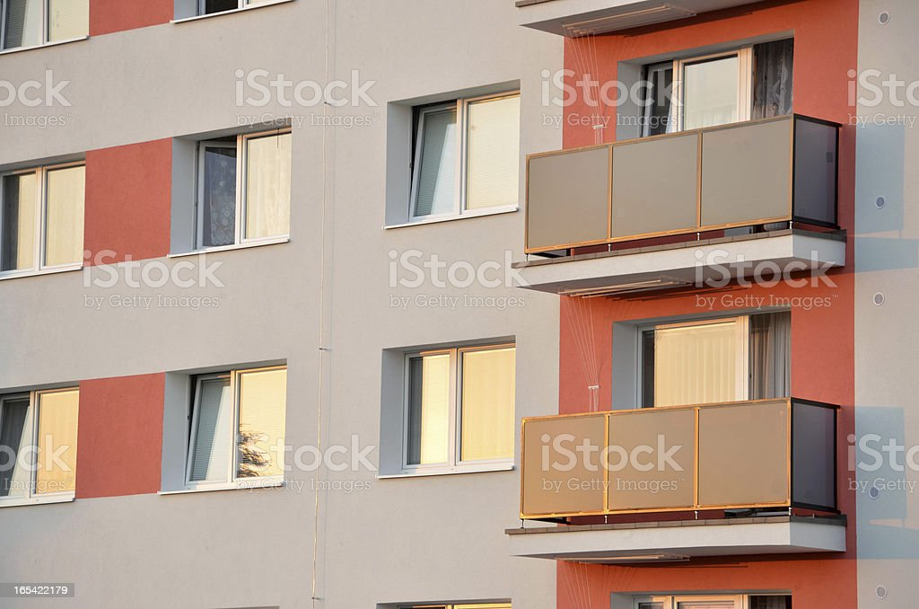 New facade on block of flats. Close view. stock photo