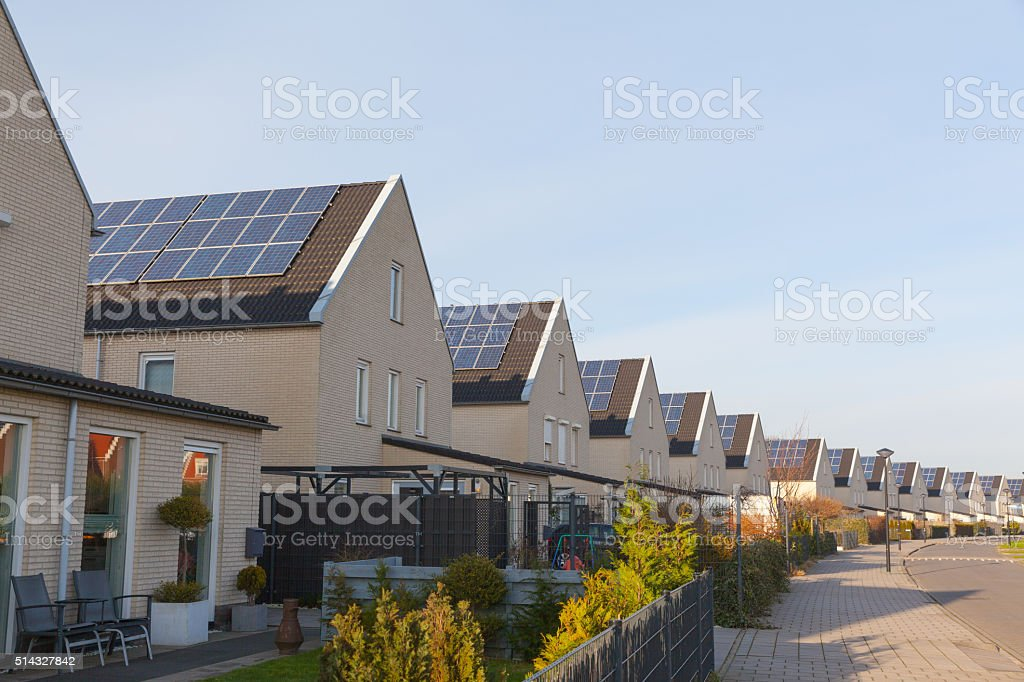 New family homes with solar panels on the roof stock photo