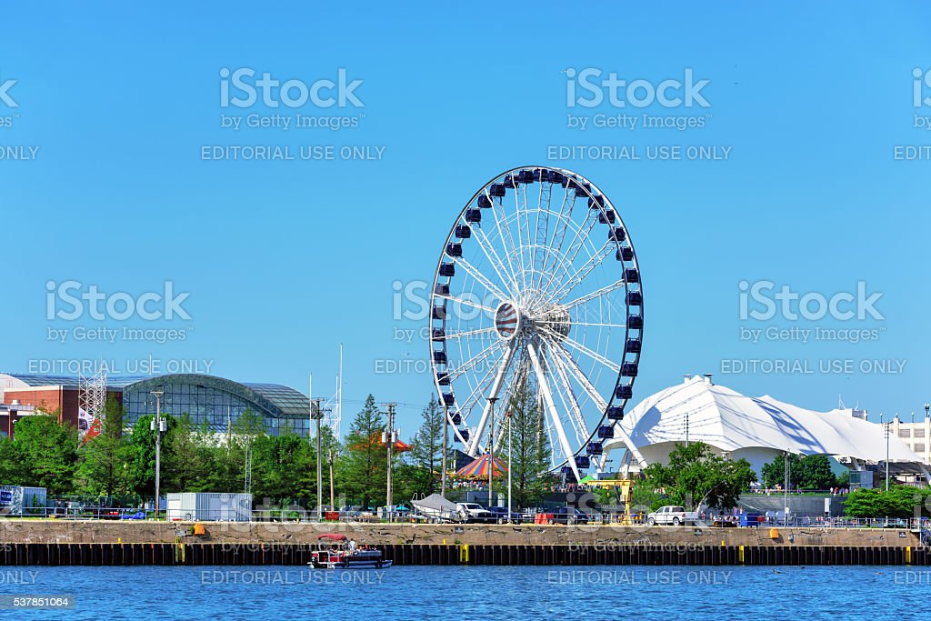 New Ferris Wheel on Navy Pier, Chicago stock photo