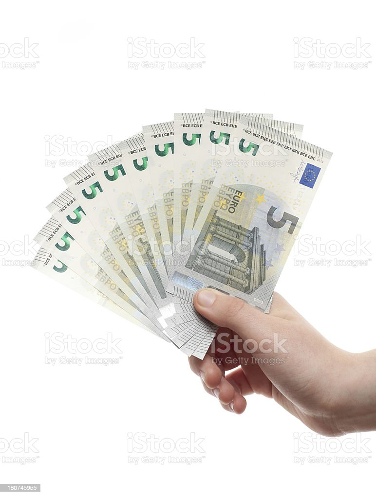 New fie euros bank Bill royalty-free stock photo