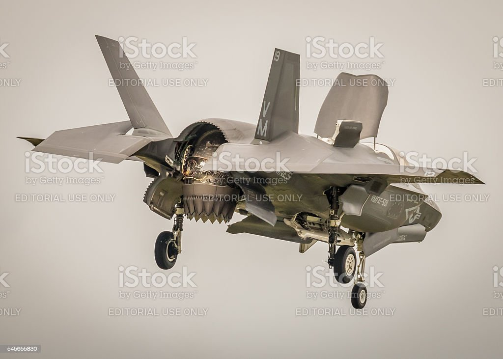 F-35 new fighter jet - vertical landing stock photo