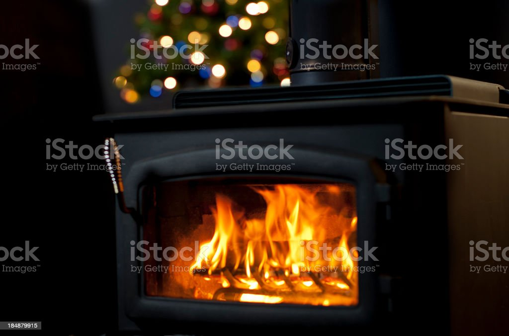 New fireplace working on Christmas stock photo