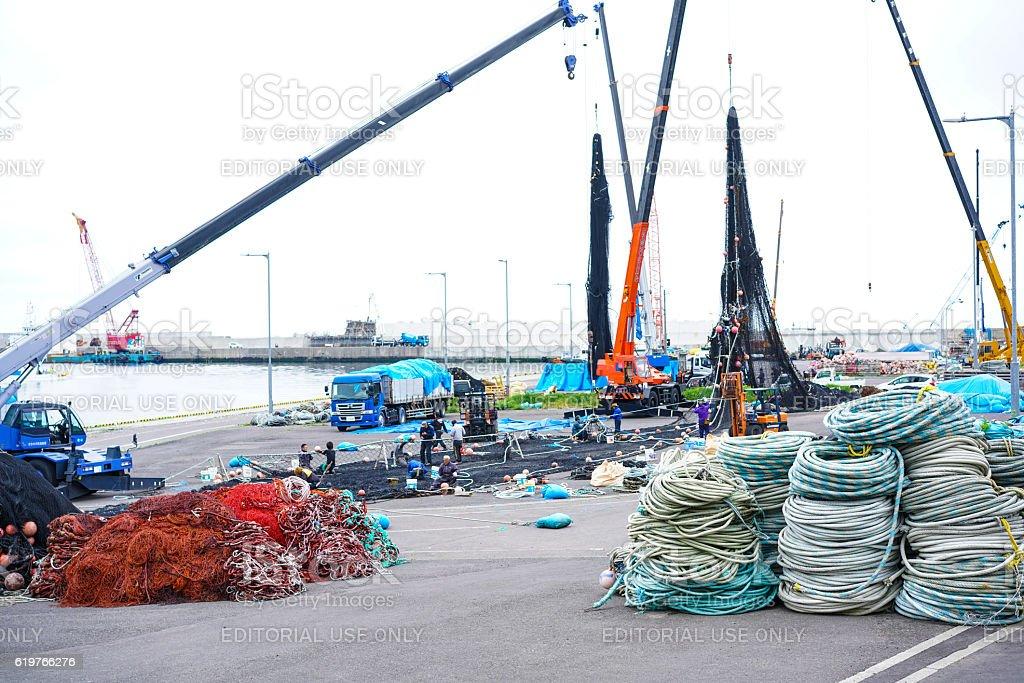 New fishing port in Utoro town at Shiretoko, Japan stock photo