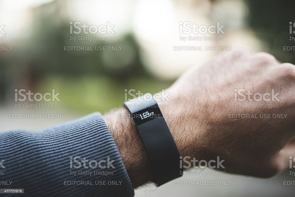 New Fitbit Force, sport fitness tracker stock photo