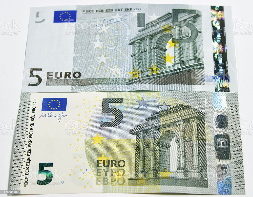 New Five Euro banknote stock photo
