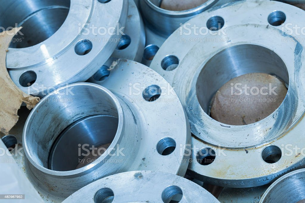New flanges in the workshop of the plant stock photo