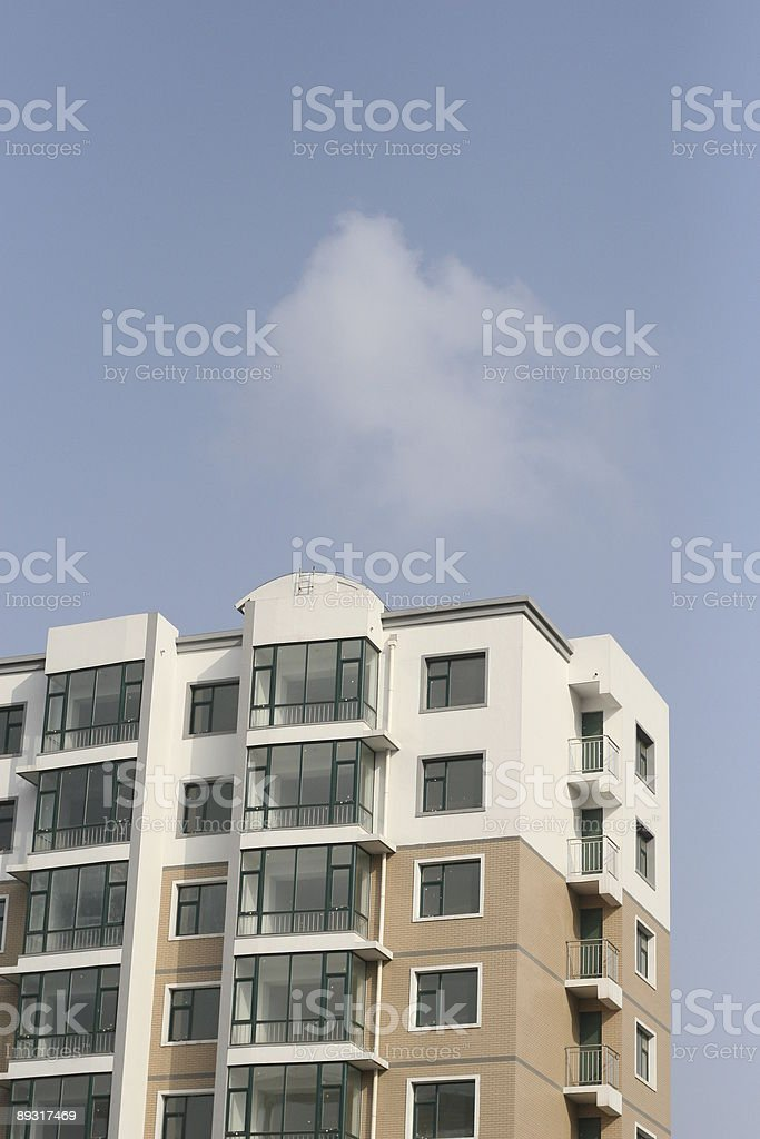 new flat building under blue sky royalty-free stock photo