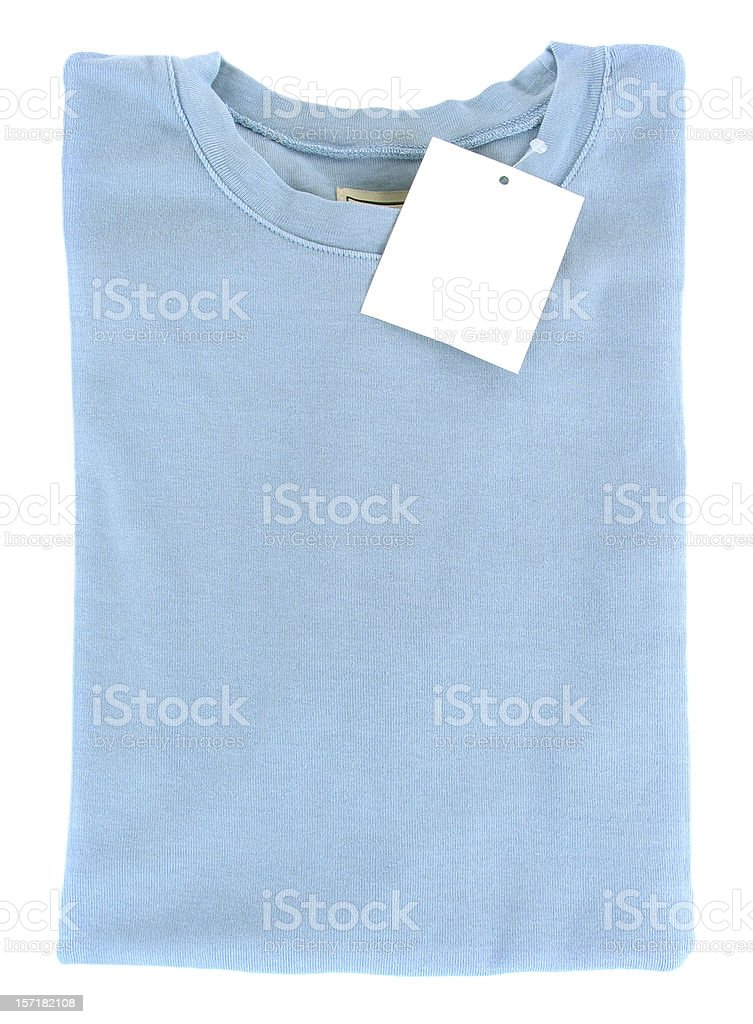 New Folded T-Shirt with Blank Tag stock photo