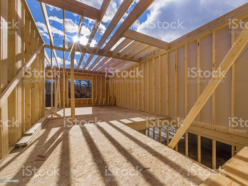 New framing construction of a  house stock photo