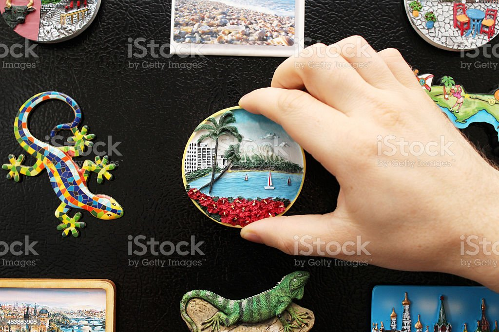 New fridge magnet from the last vacation stock photo
