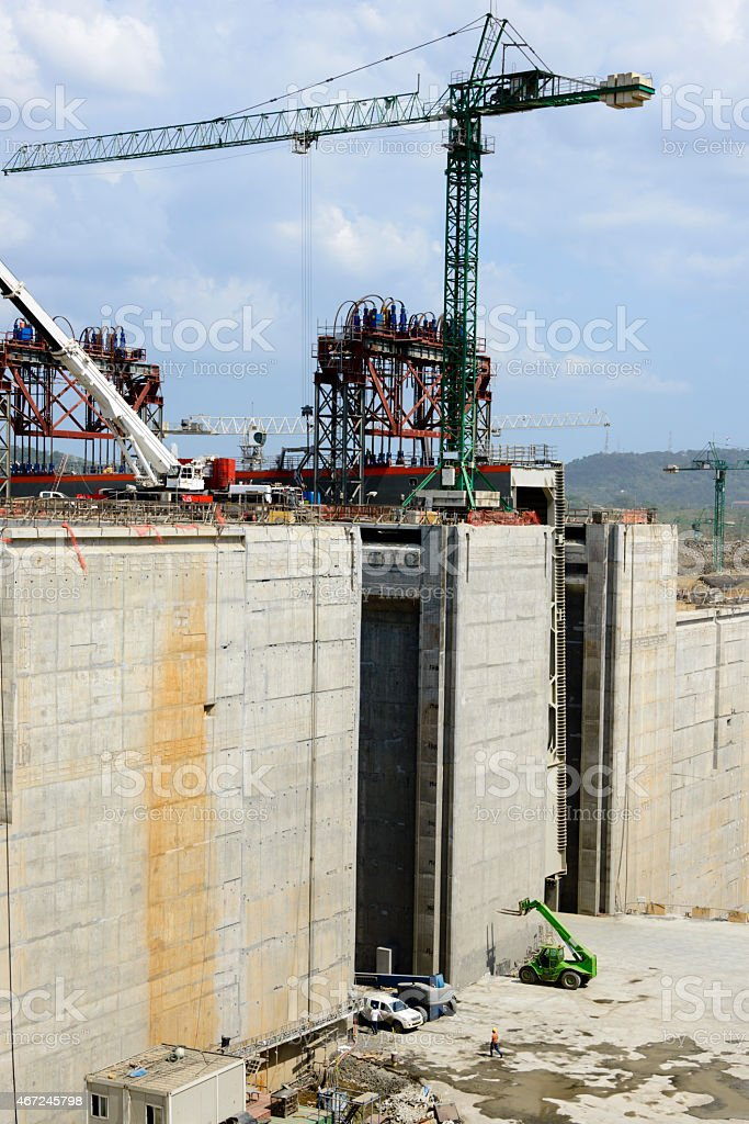 XXXL: New gate of the Panama Canal expansion project stock photo
