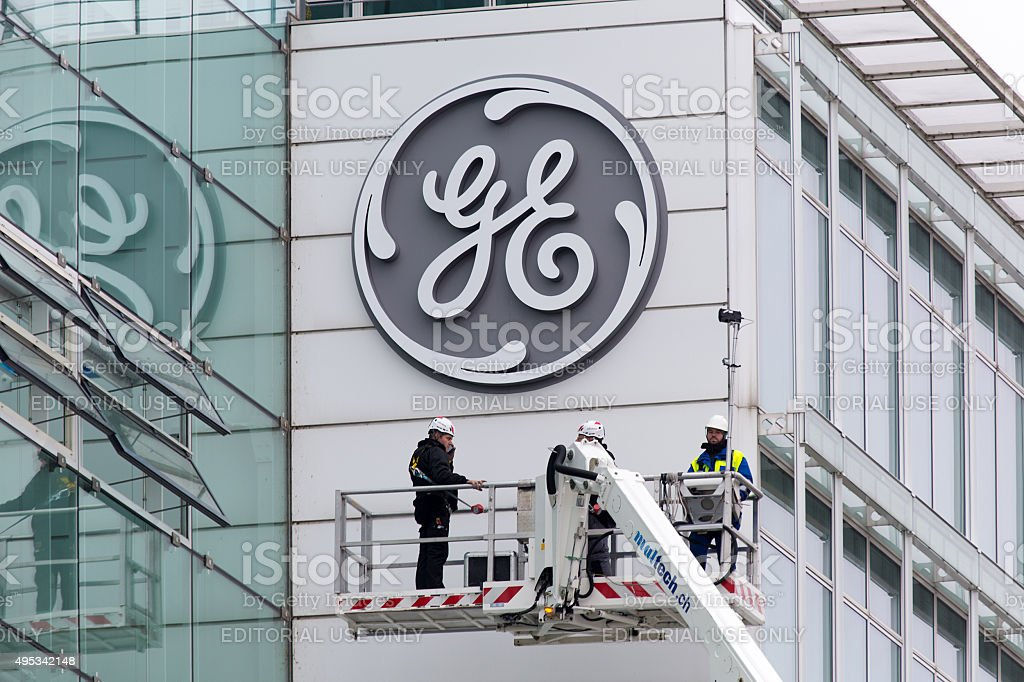 New General Electric logo installed on former Alstom building stock photo