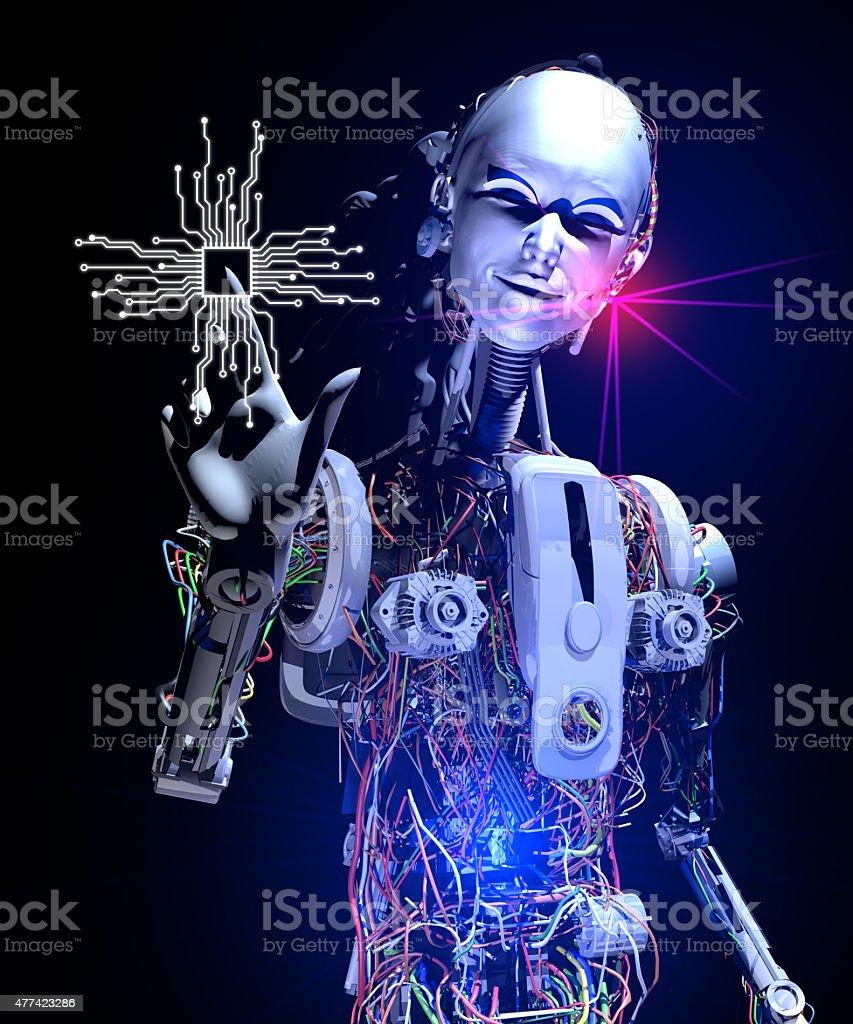 New Generation Microprocessor Technologies and Cyborg stock photo