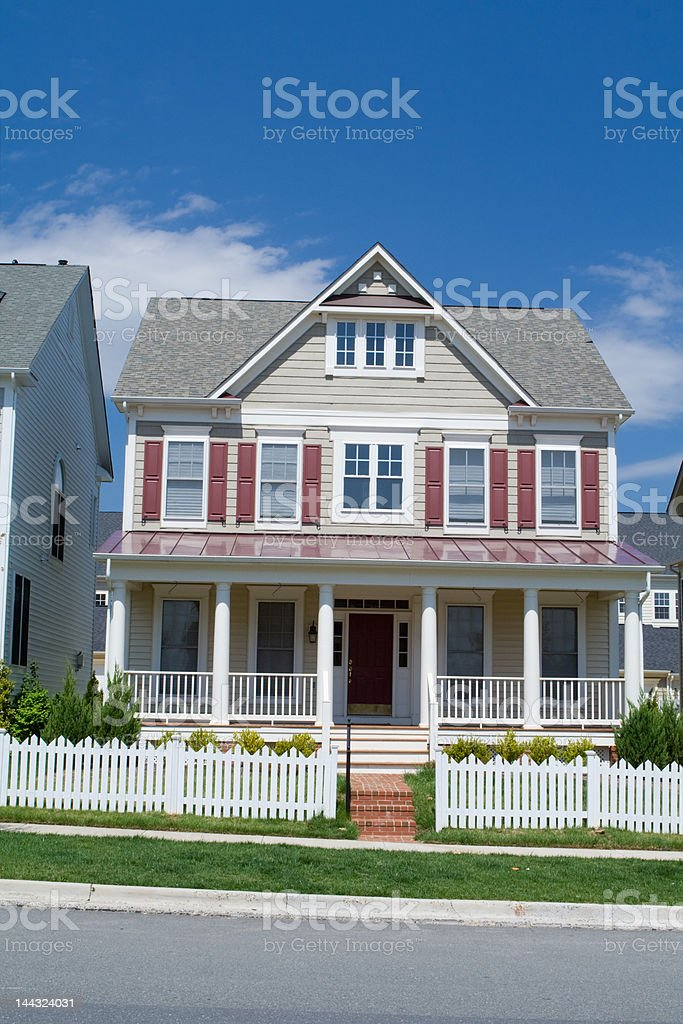 New Georgian Style Porch Picket Fence Single Family House Suburban stock photo
