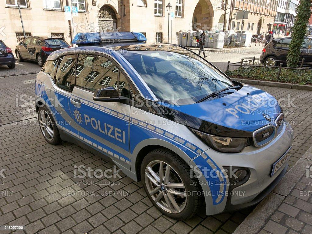 new german electric police car BMW i3 stock photo