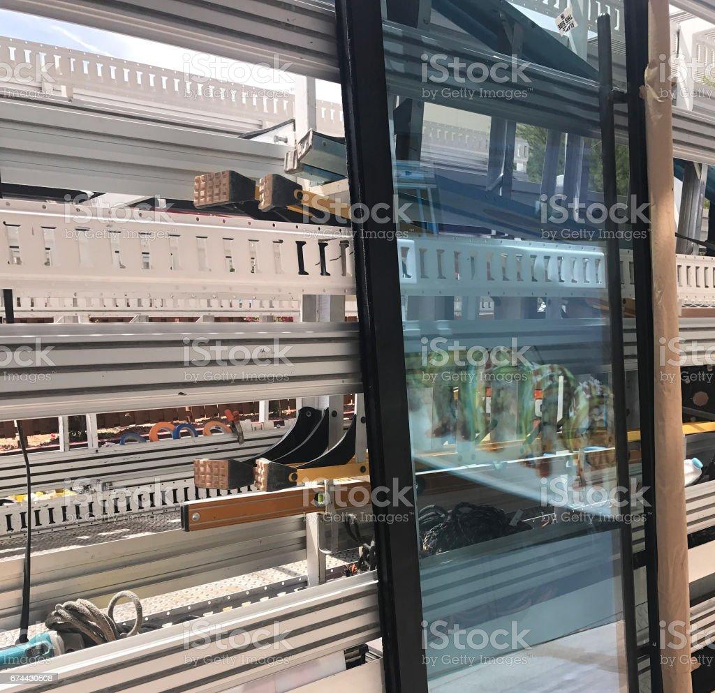 New glass window door stock photo