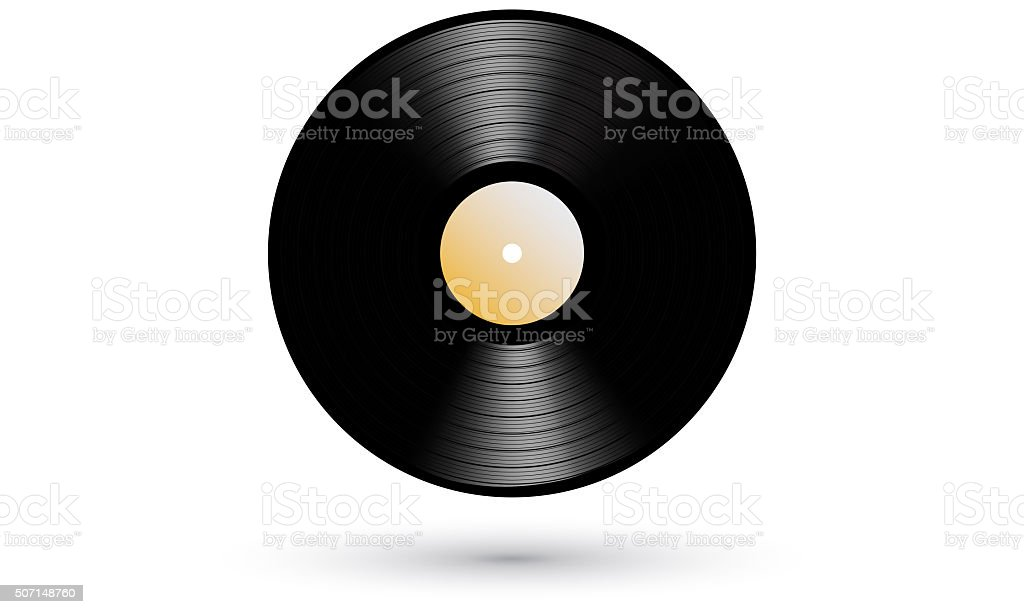 New gramophone vinyl LP record realistic icon stock photo