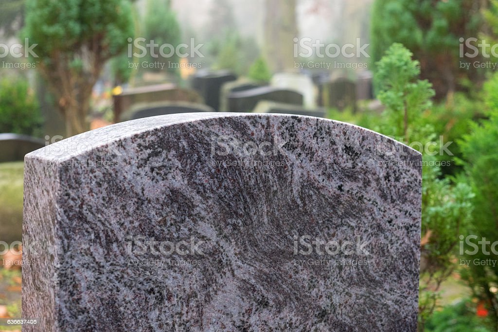 New Granite Tombstone with Space for Inscription stock photo