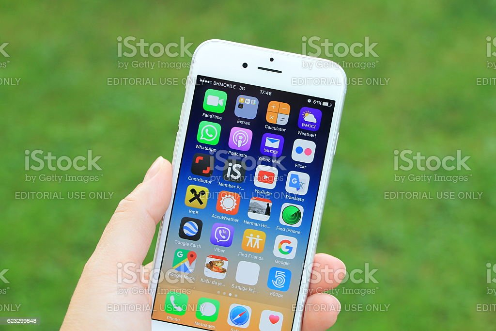 New gray iPhone 6 in woman's hand. stock photo