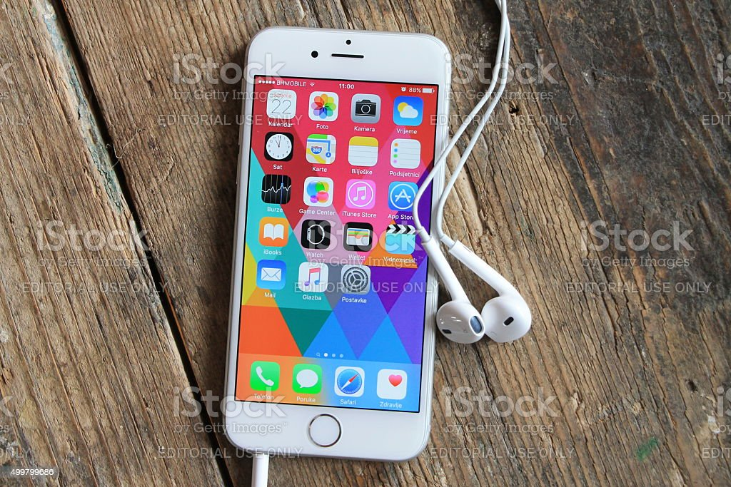 New gray iphone 6 with handset on the wooden table stock photo