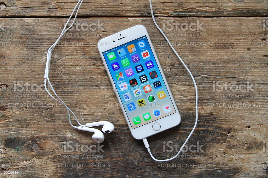 New gray iphone 6on the wooden table stock photo