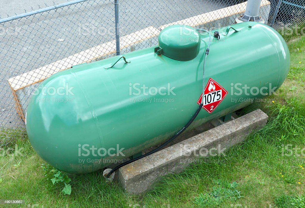 New Green Industrial Propane Tank stock photo